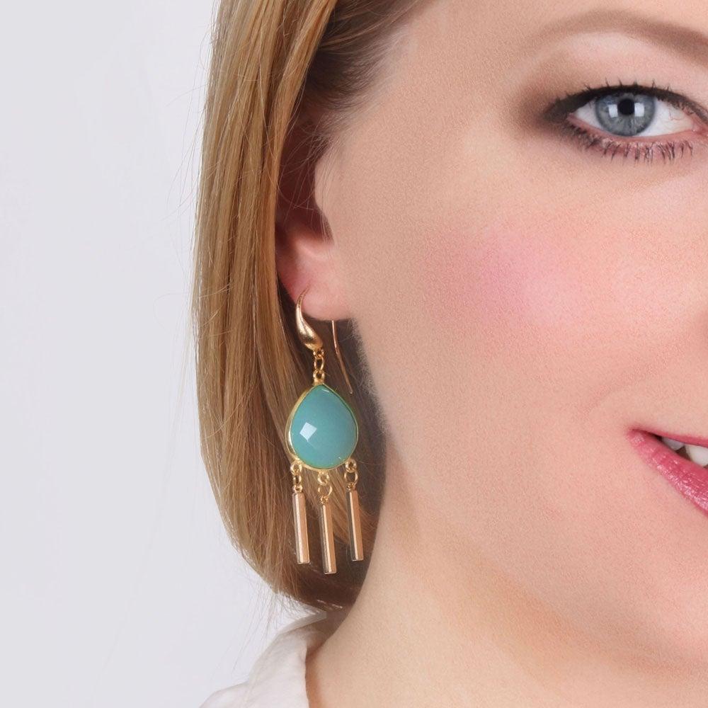 Image of AQUA DROPLET CHANDELIER EARRINGS