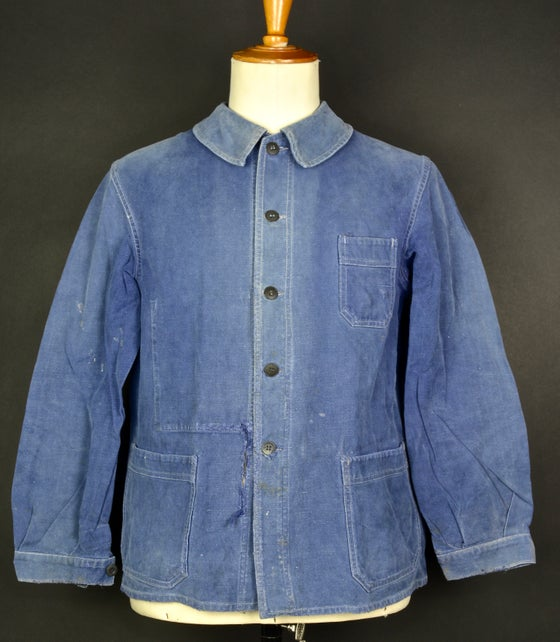 Image of 1940'S FRENCH blue indigo WORK JACKET FADED N12