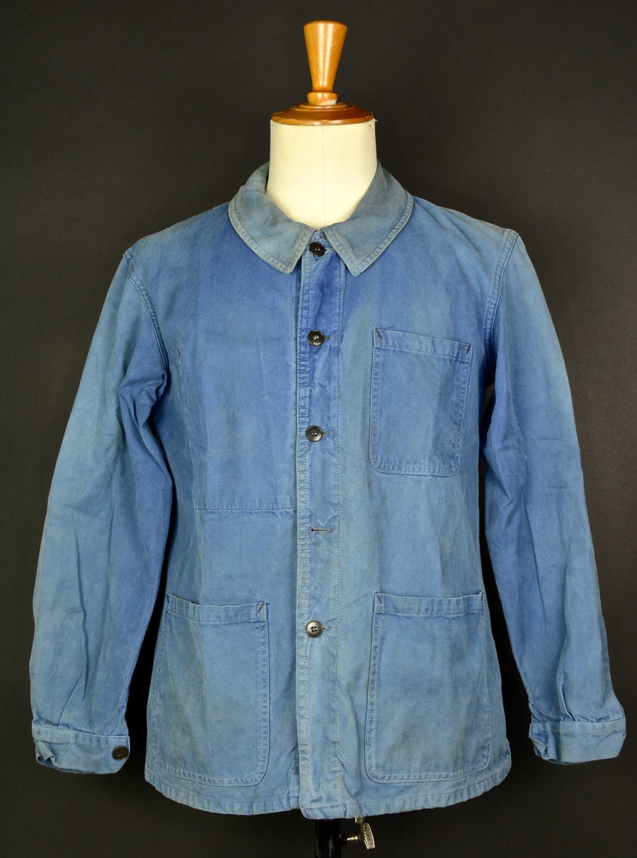 Image of 1950'S FRENCH blue indigo WORK JACKET FADED N13