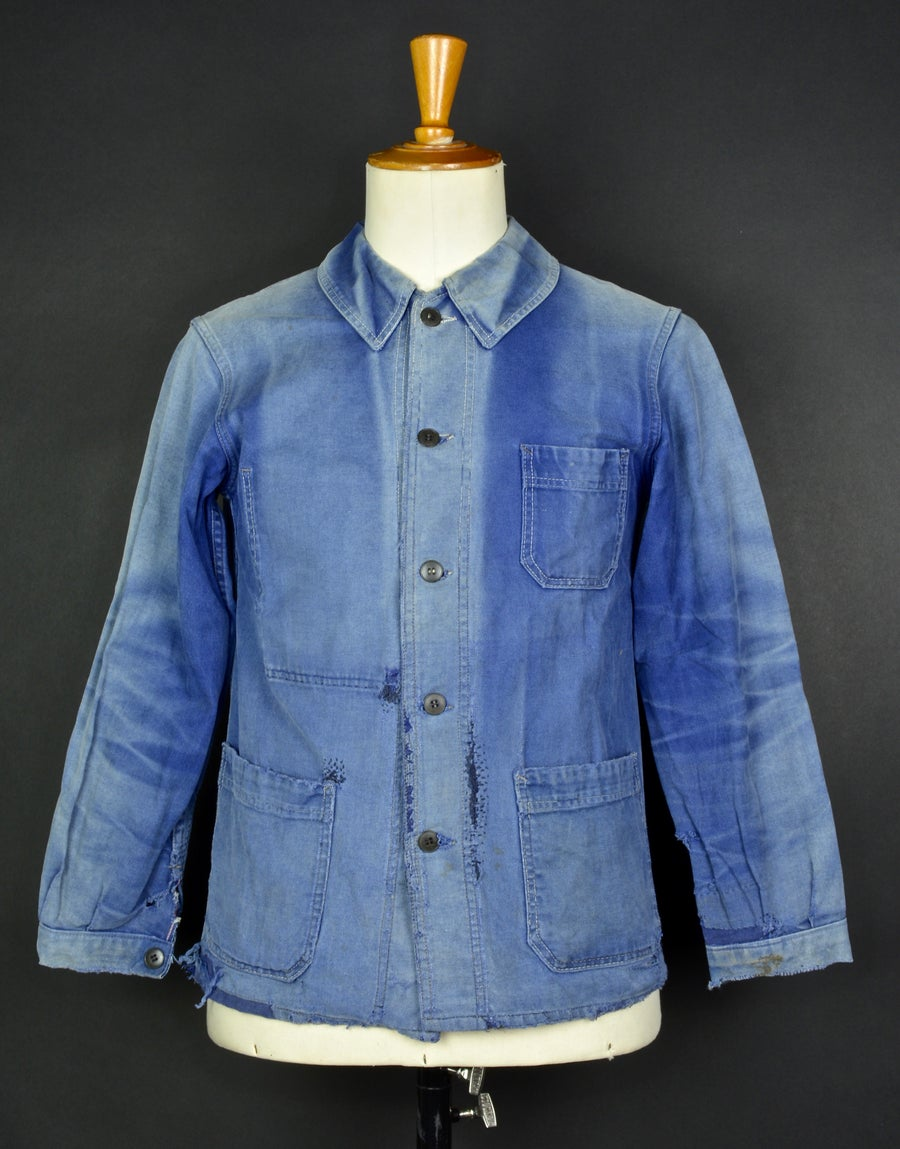 Image of 1940'S FRENCH blue indigo WORK JACKET FADED N19