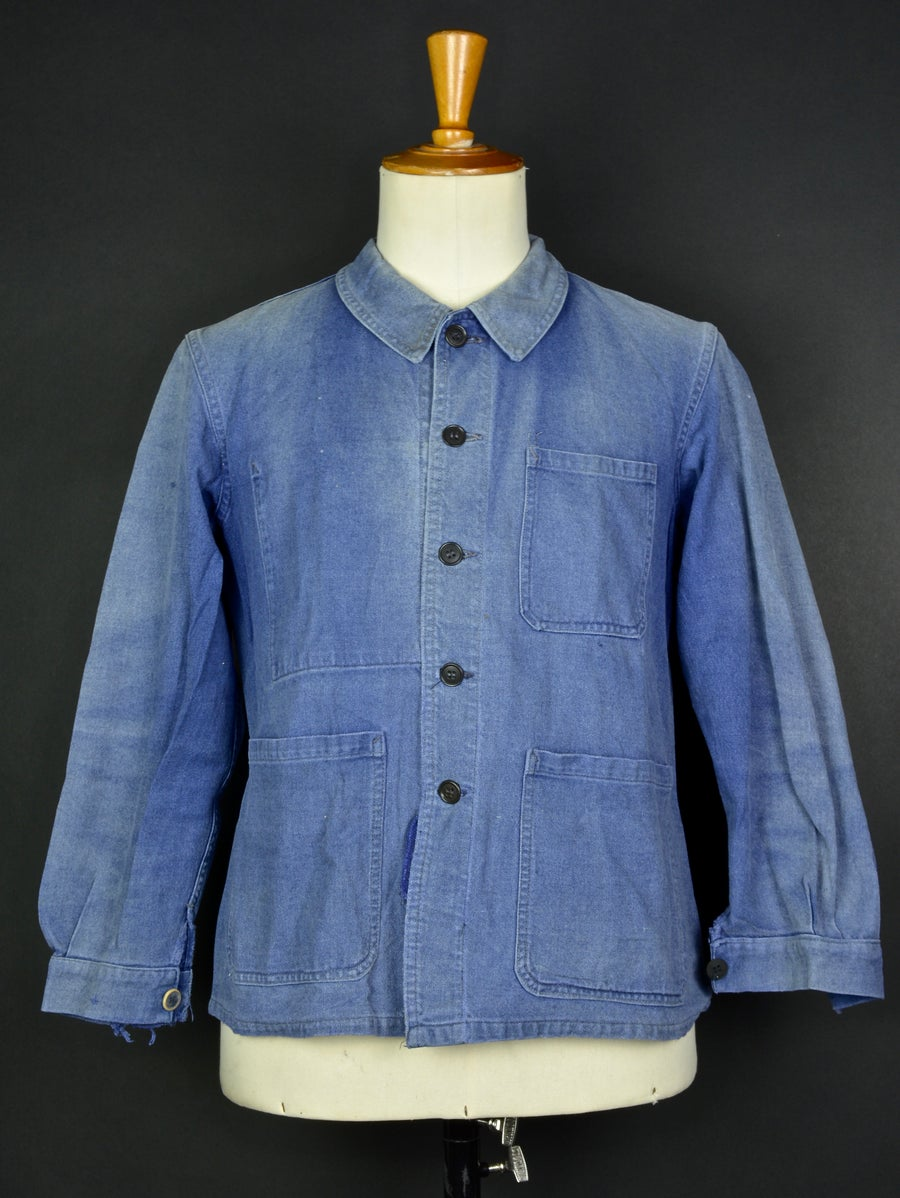 Image of 1950'S FRENCH blue indigo WORK JACKET FADED N27