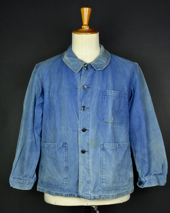Image of 1950'S FRENCH blue indigo WORK JACKET FADED N32