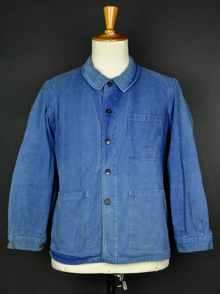 Image of 1950'S FRENCH blue indigo WORK JACKET FADED N36