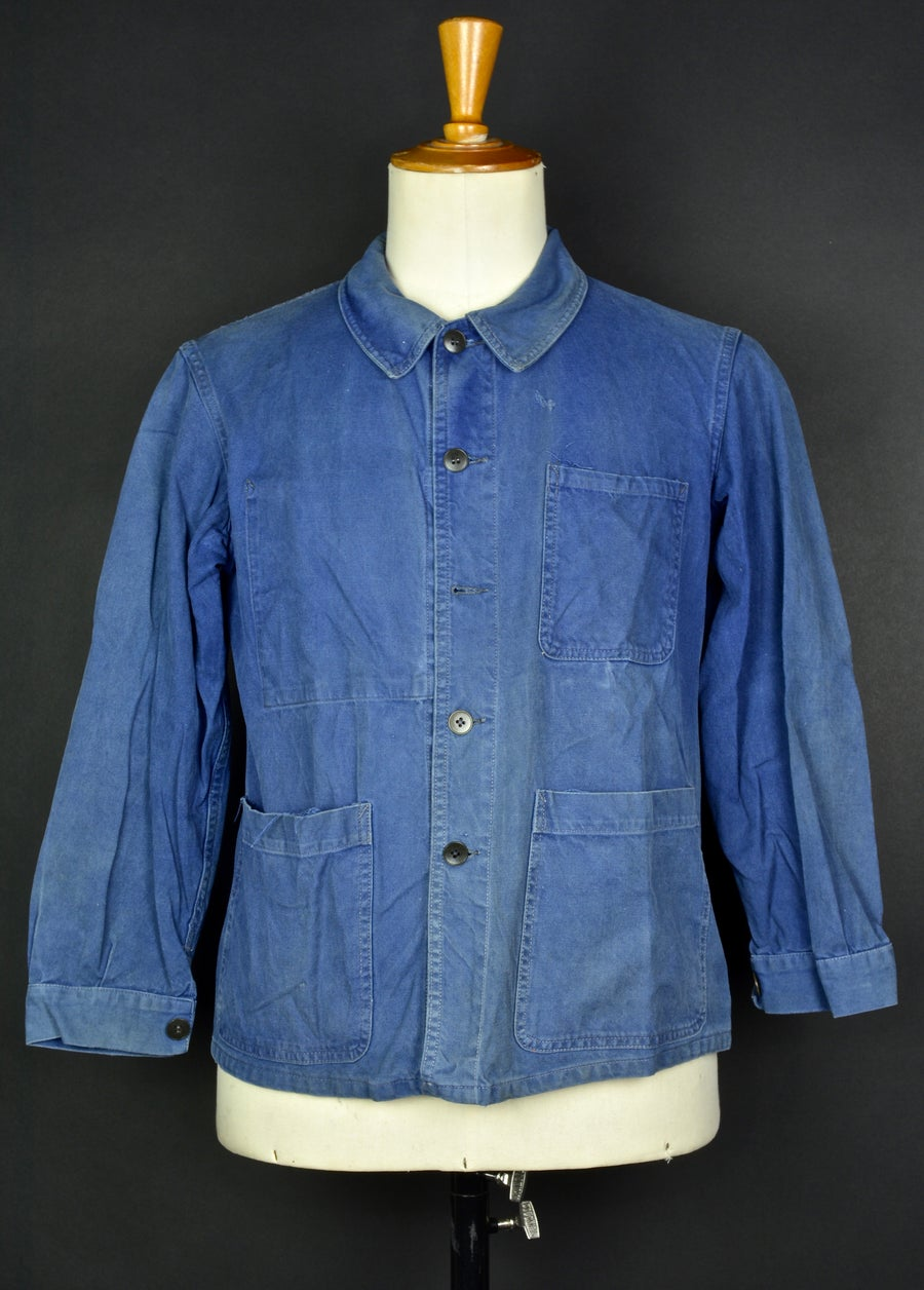 Image of 1950'S FRENCH blue indigo WORK JACKET FADED N37