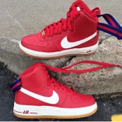 Image of NIKE AIR FORCE 1 HI RED & WHITE