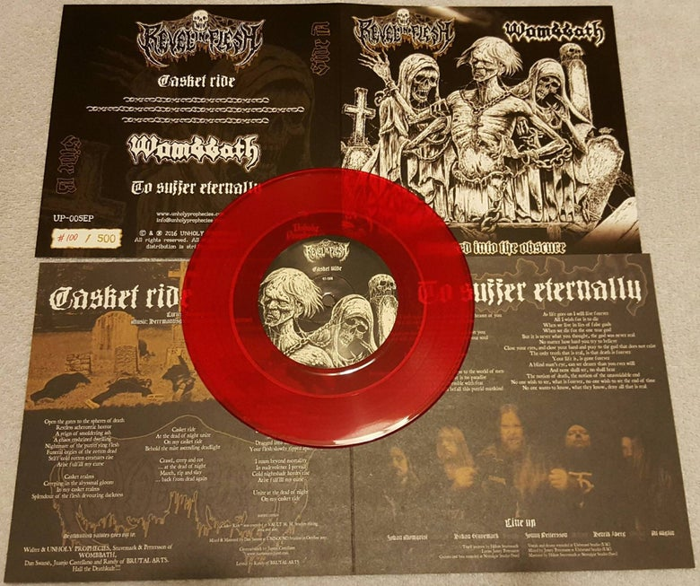 "Image of Pre-order - ""Dragged Into The Obscure"" - Wombbath - Revel in Flesh split (Red)"