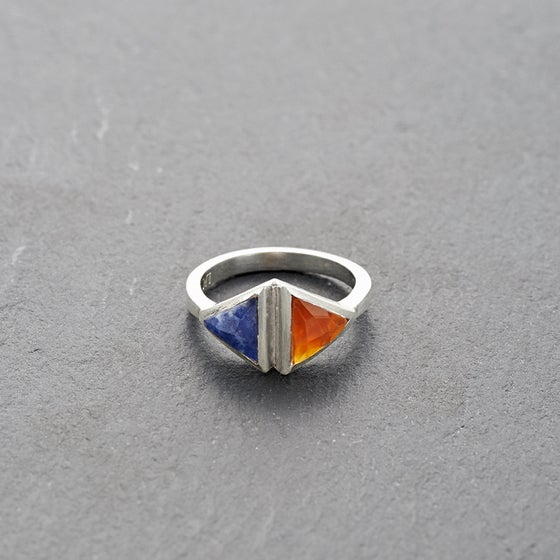 Image of Double Kandy Sodalite Ring Silver