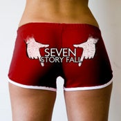 "Image of 7SF ""Hands"" Booty Shorts (Burgundy)"