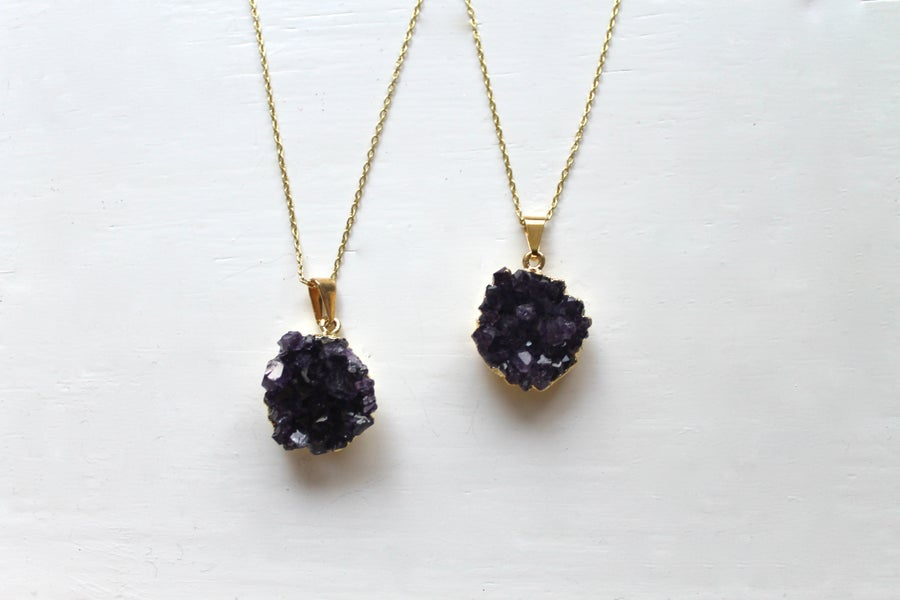 Image of Gold Dipped Amethyst Druzy Necklace