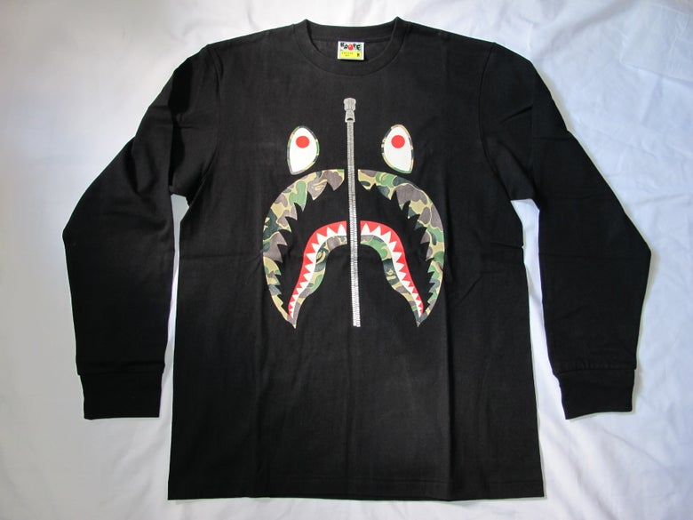 Image of A Bathing Ape (Bape) - Camo Shark long sleeve tee