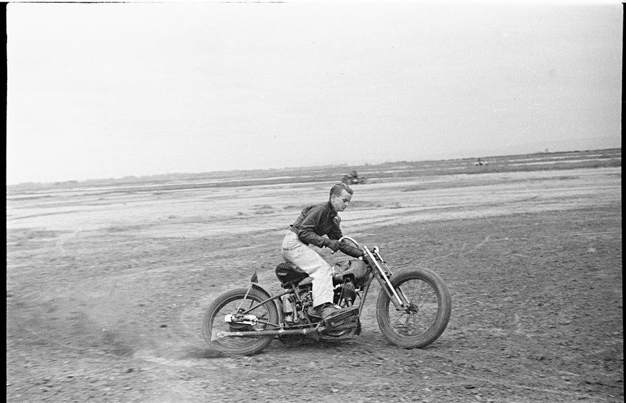 Image of 1928 Harley Davidson on a desert run