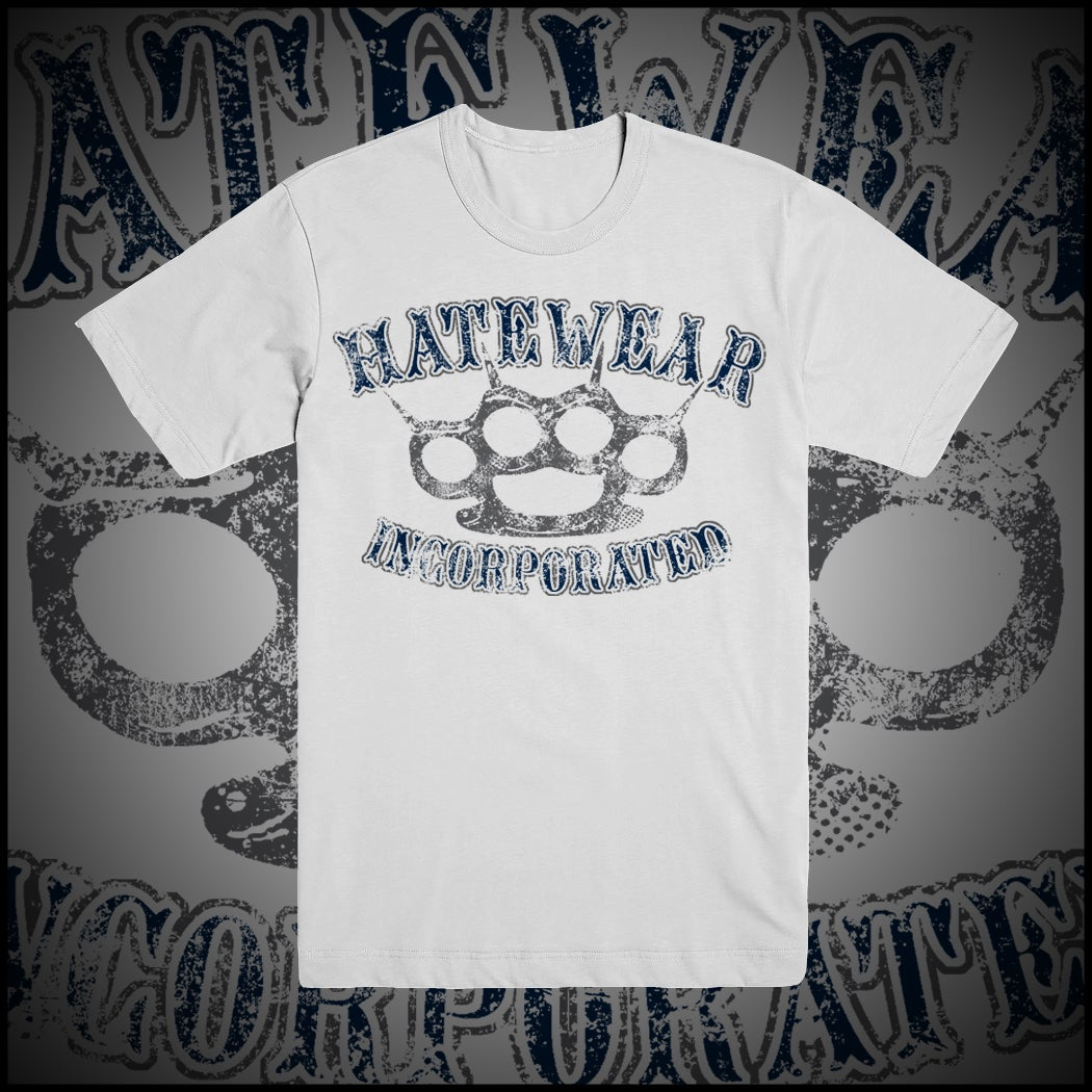 Image of HATEWEAR OLD SCHOOL KNUCKLES WHITE T-SHIRT
