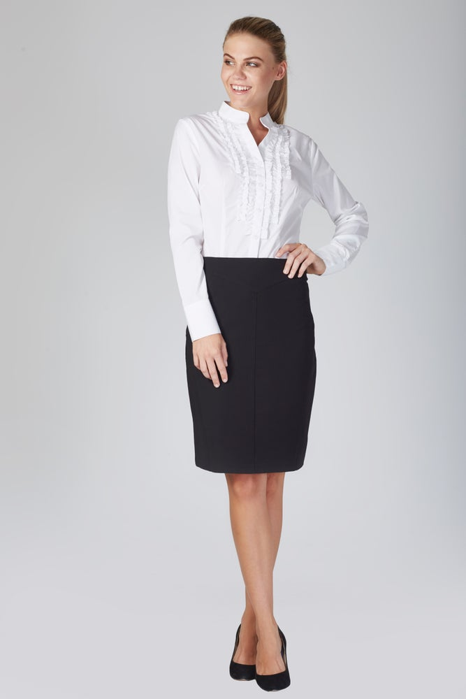 Zambelli ruffle shirt white the perfect work dress for Perfect white dress shirt