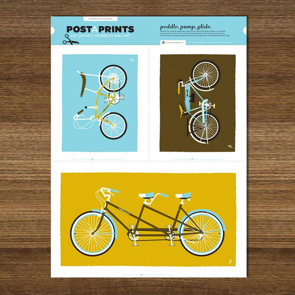 Image of 'Vintage Bicycles' 3-in-1 silkscreen prints by Jeremy Slagle