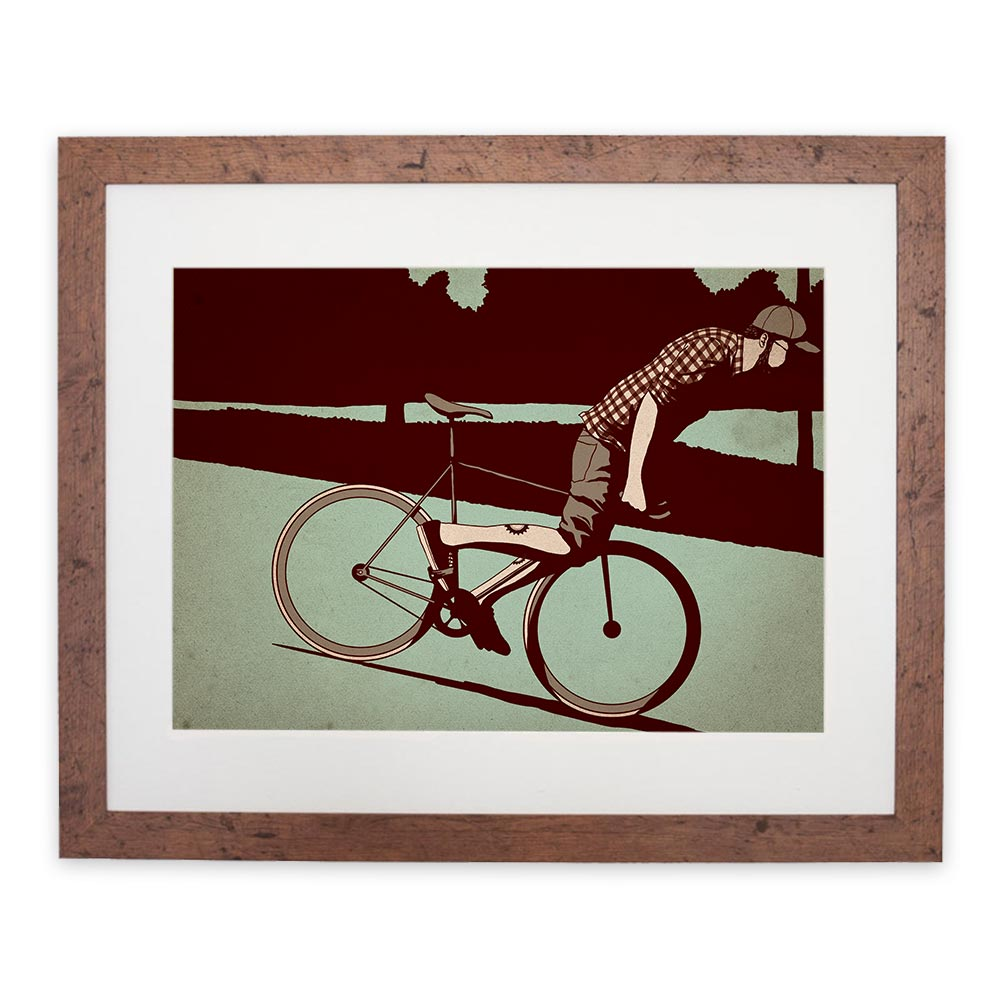 Image of 'Fixie Lean' digital print by Adams Carvalho