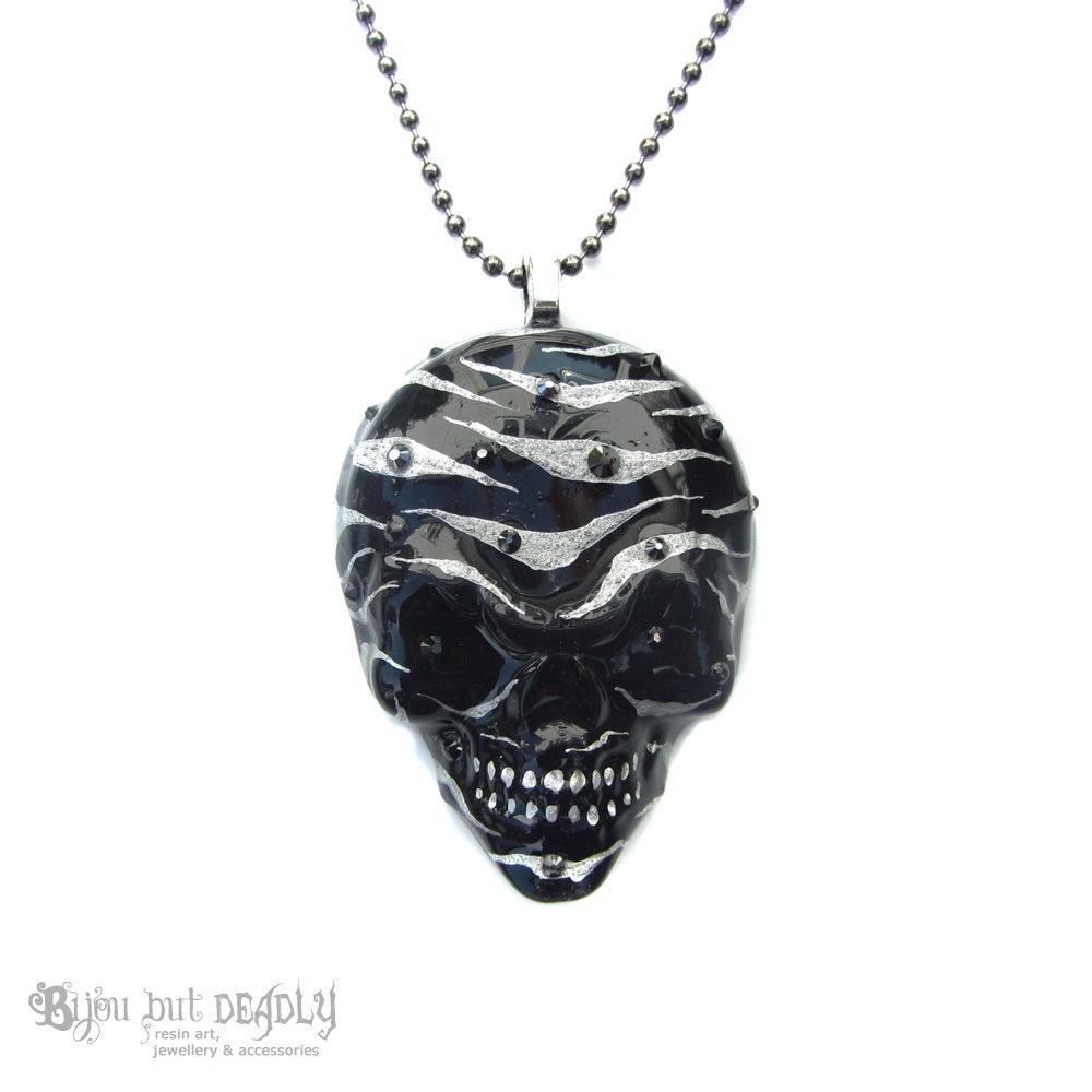 Image of Black/Silver Zebra Stripe Resin Skull Necklace