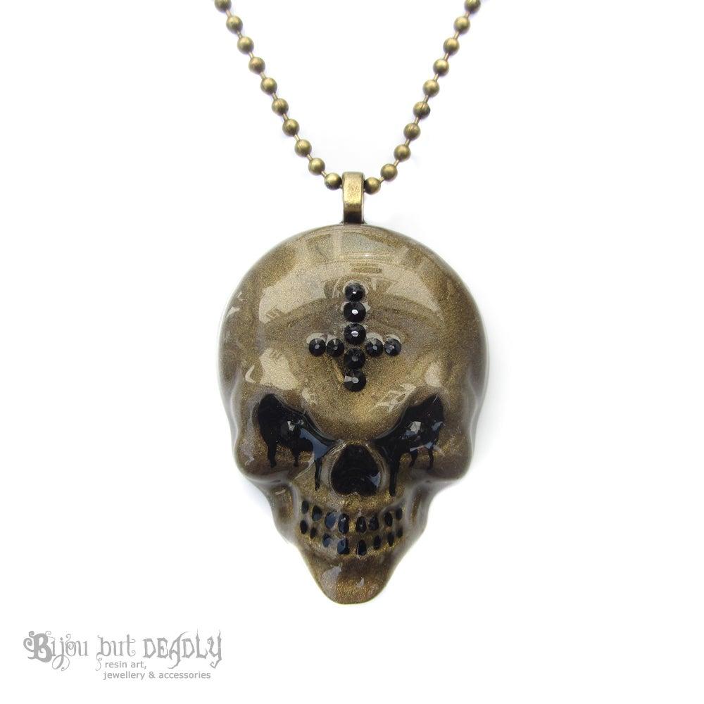 Image of Bronze Resin Evil Skull Necklace