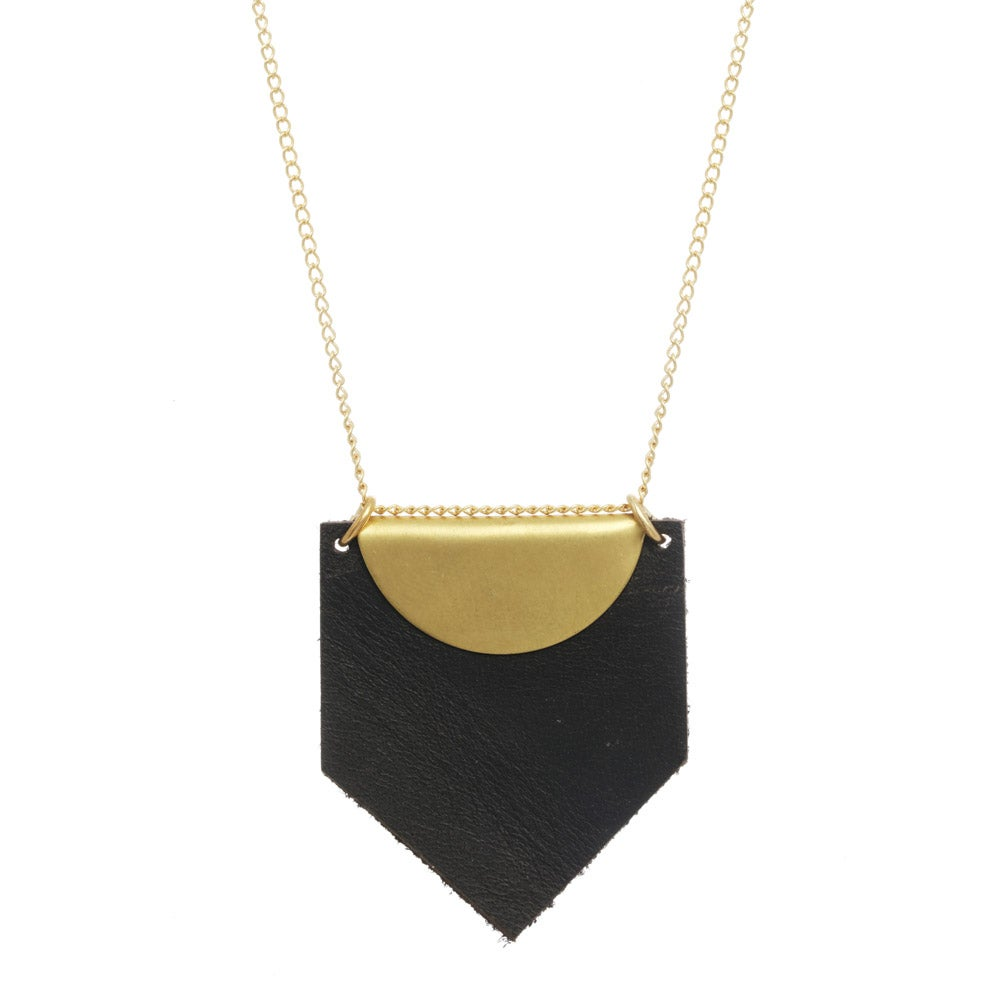 Image of LEATHER + BRASS necklace