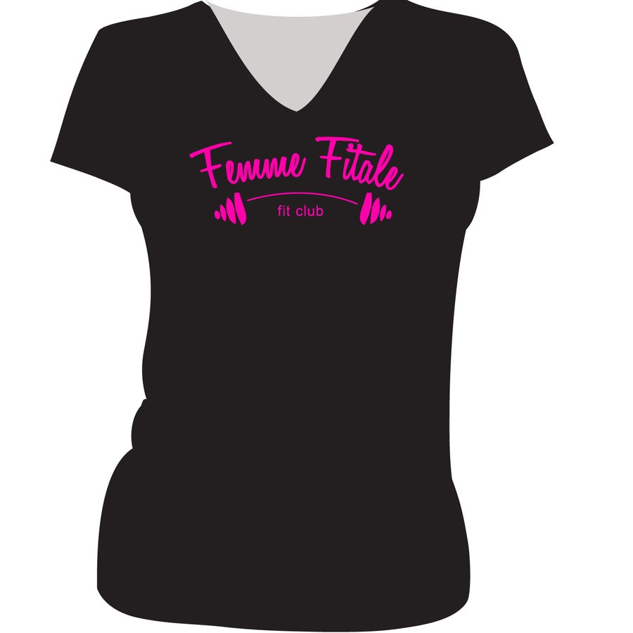 Image of Black Logo Shirt with Hot Pink Letters