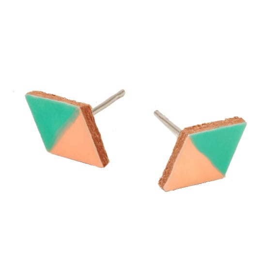 Image of COLORBLOCK DIAMOND LEATHER stud earrings