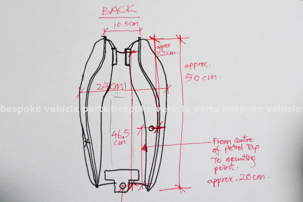 Image of Cafe Racer Honda CG125 / CB125 Fuel Tank/ Plain Series 2 - Right handed cap