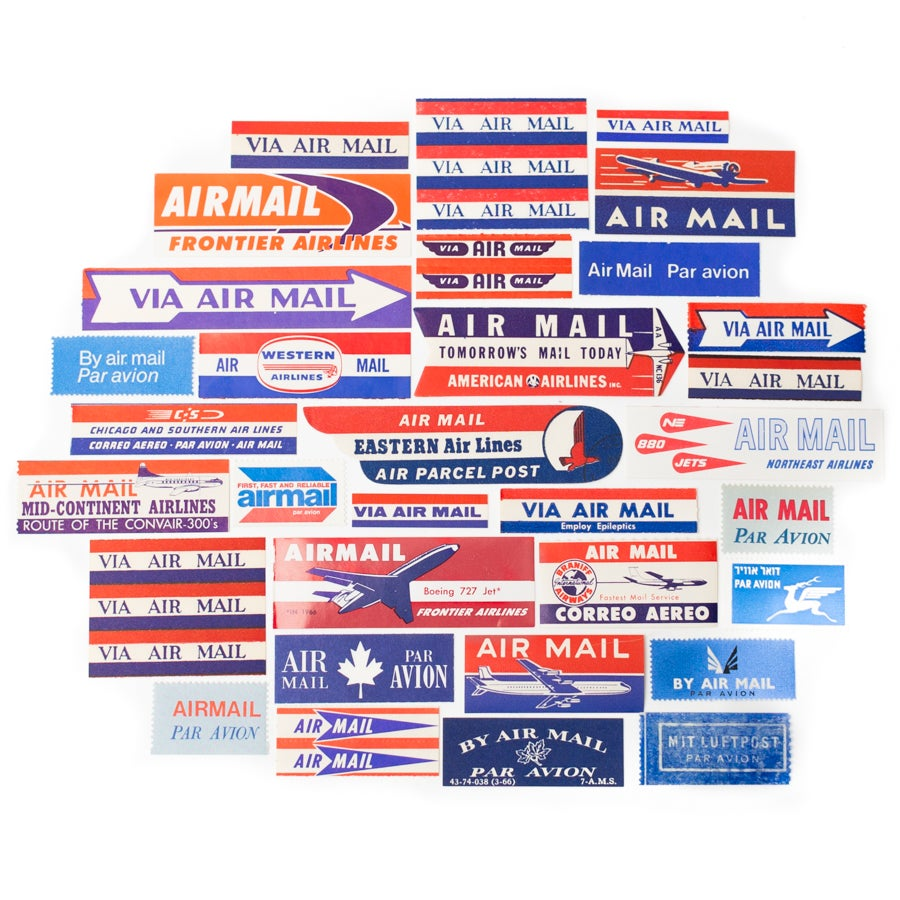 Image of Instant Collection of Vintage Airmail Labels - Set of 32