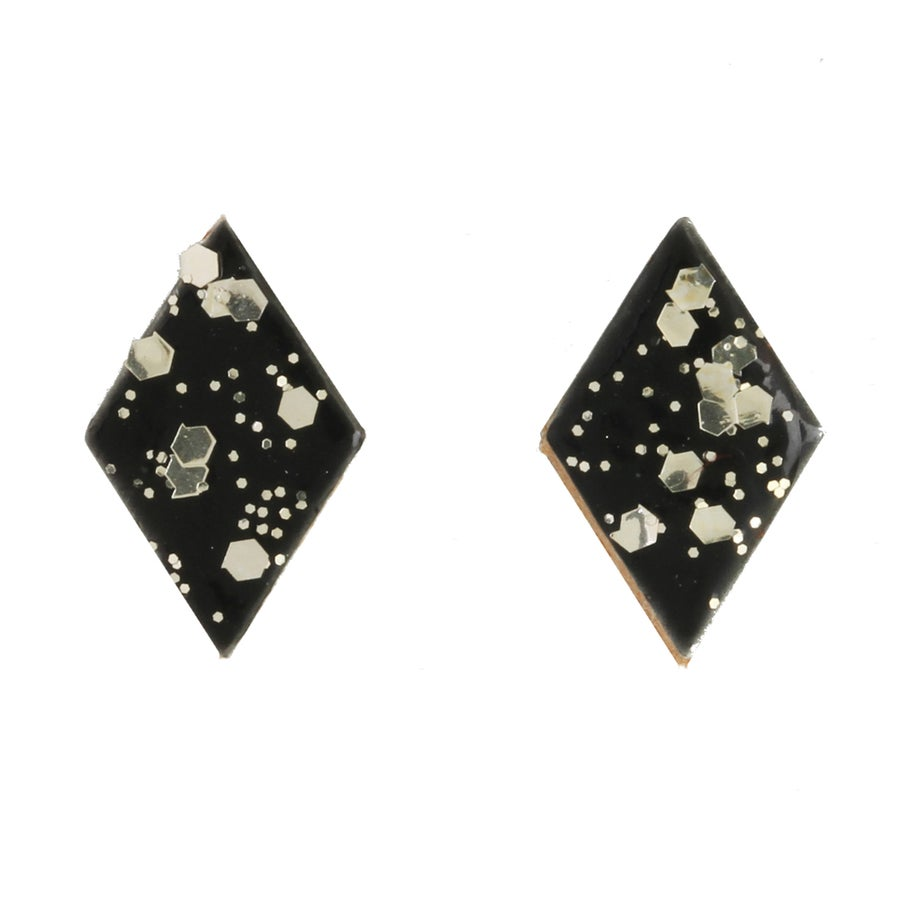Image of METALIC DIAMOND LEATHER stud earrings