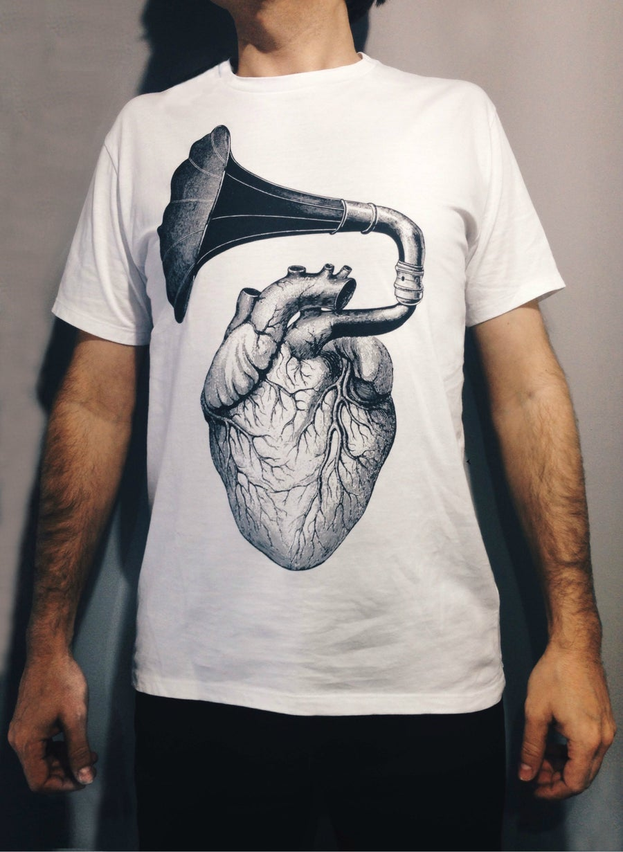 "Image of ""HEART"" white men's t-shirt"