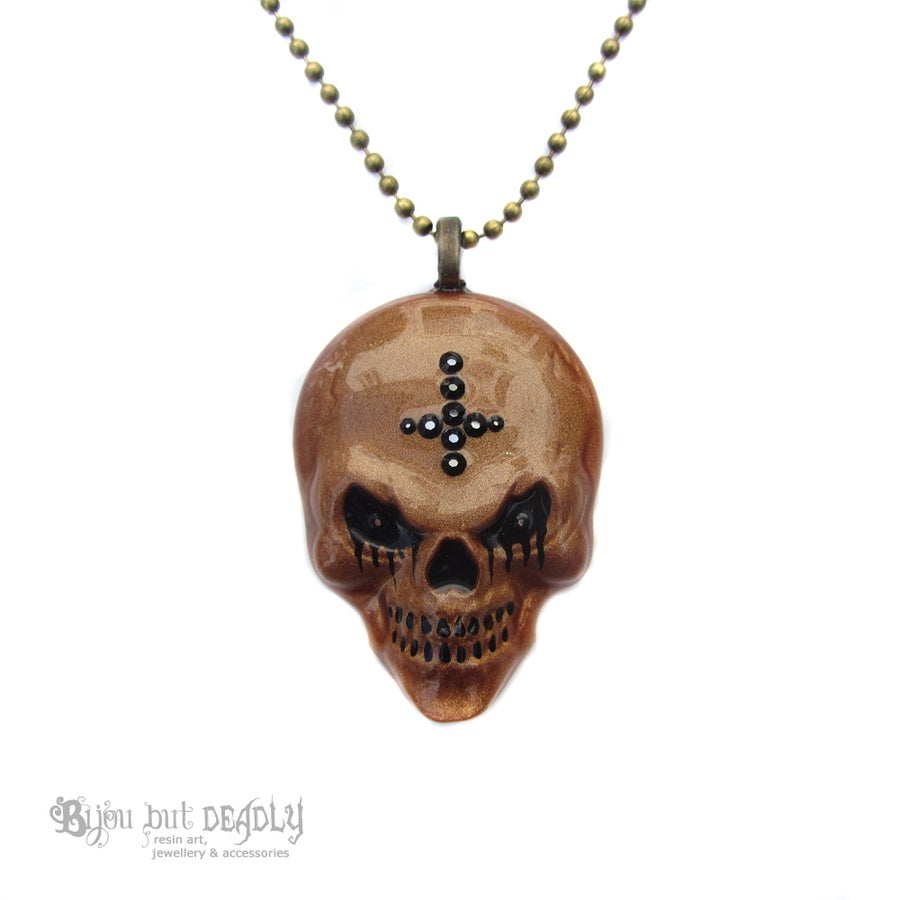 Image of Copper Evil Skull Resin Necklace
