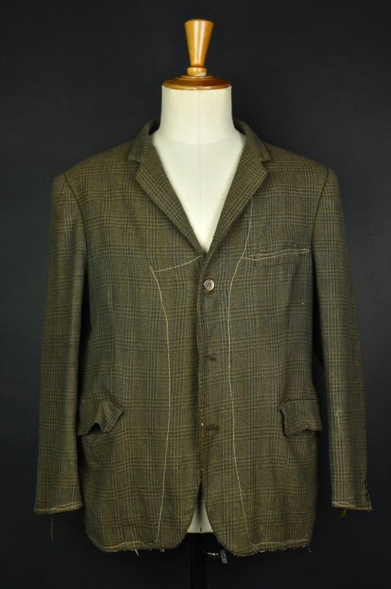Image of 1920'S FRENCH brown wool farmer blazer jacket faded