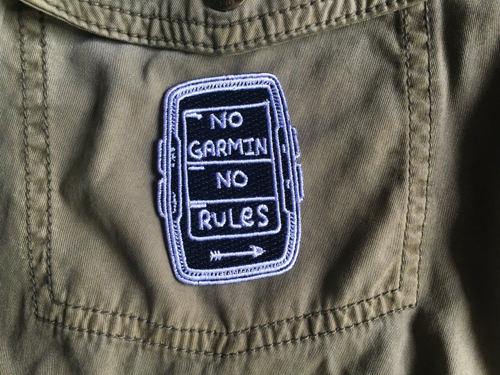 """Image of """"No Garmin No Rules"""" Black Embroidered Patch"""