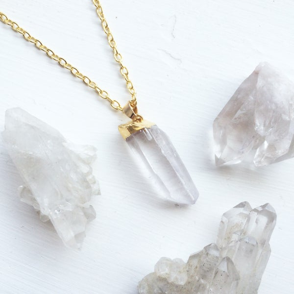 Image of Clear Gold Dipped Crystal Necklace