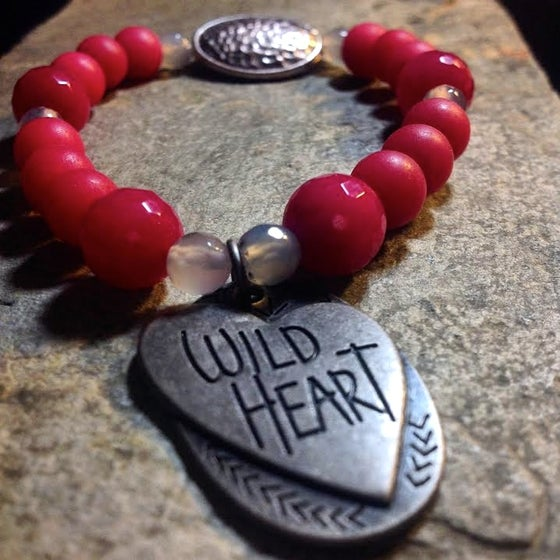 Image of Wild Heart ~  Faceted Agate and Matte Agate with Labradorite~ Grounding and Aligning Bracelet