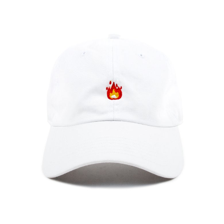 """Image of  """"Fire"""" Low Profile Sports Cap - White"""