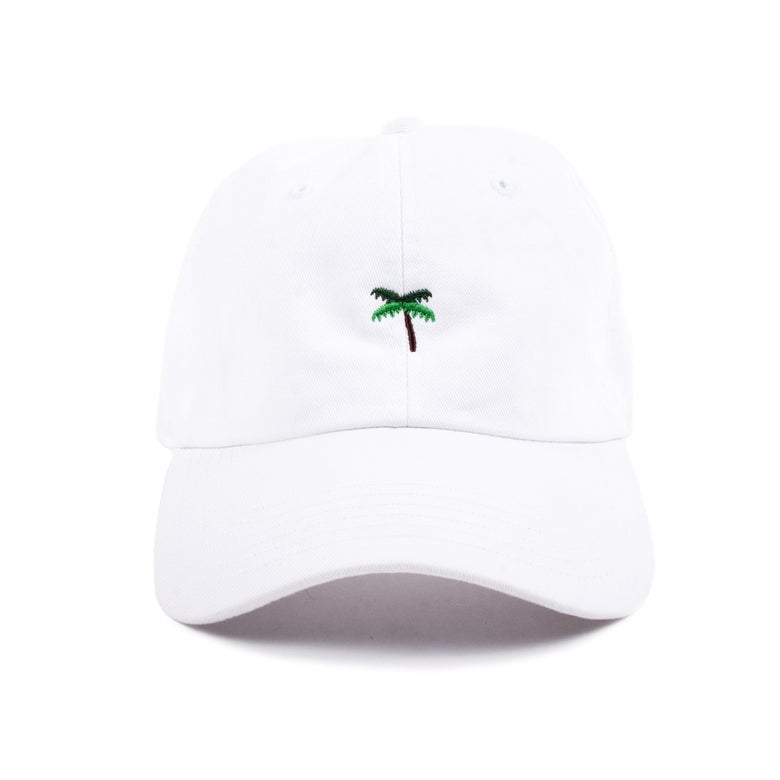 Image of  Palm Tree Low Profile Sports Cap - White