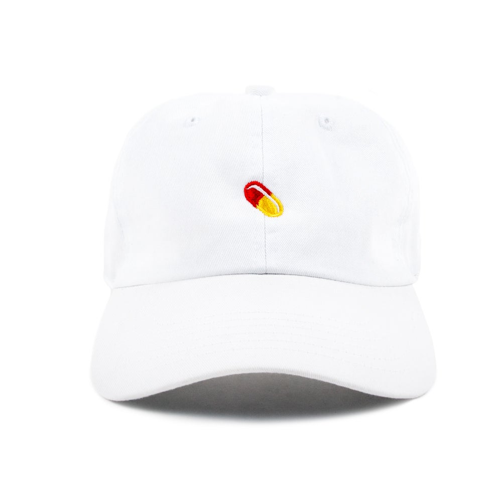 "Image of  ""Pill"" Low Profile Sports Cap - White"