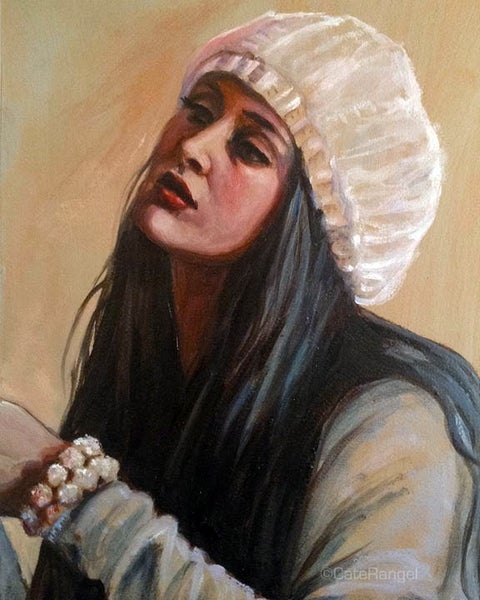 Image of Marti Jean in Knit Hat - Original Oil Painting 5x7