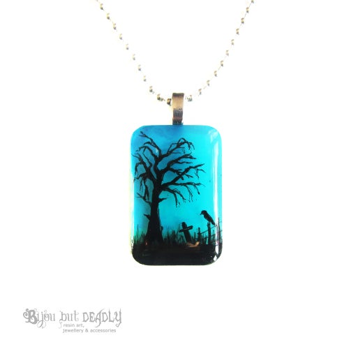 Image of Spooky Tree Twilight Resin Pendant