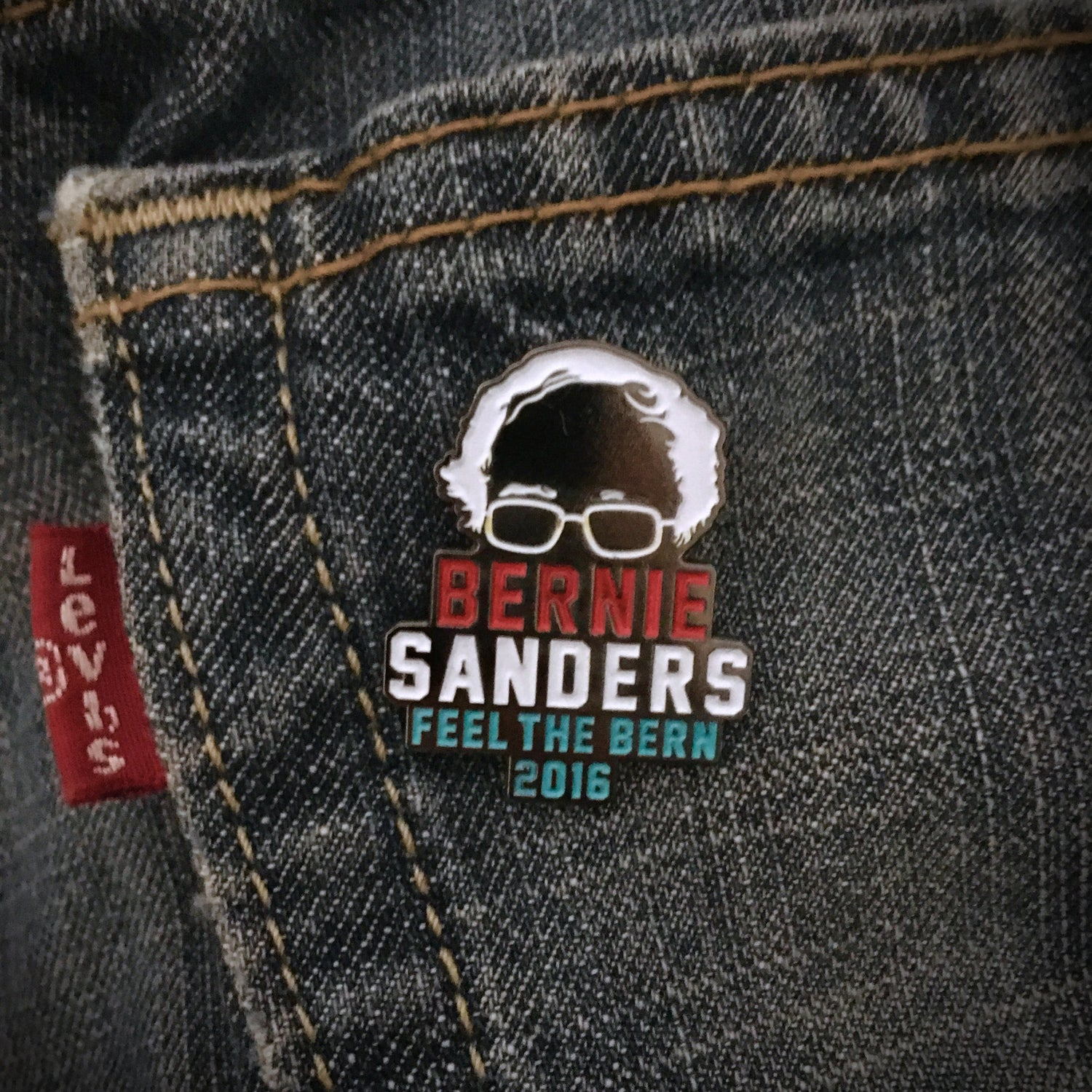 Image of Bernie Sanders 2016 Feel The Bern Enamel Pin