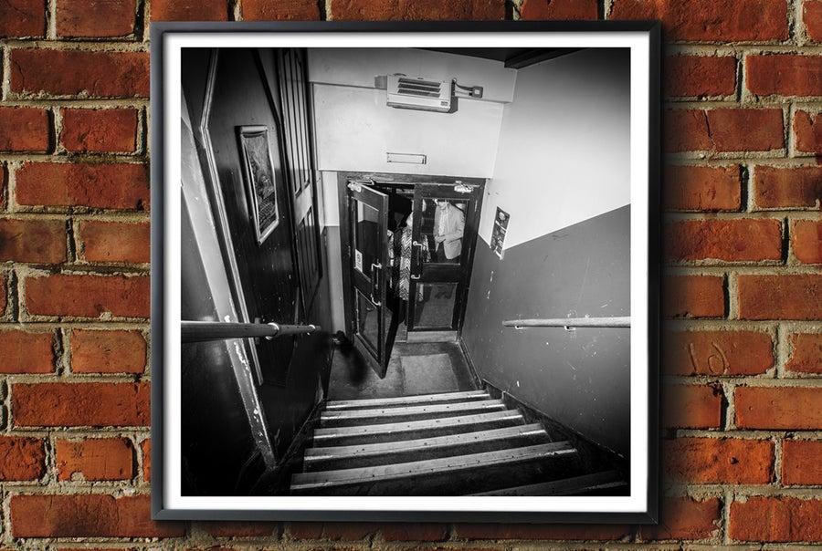Image of 'Twisted Wheel - Steps' Framed Print.