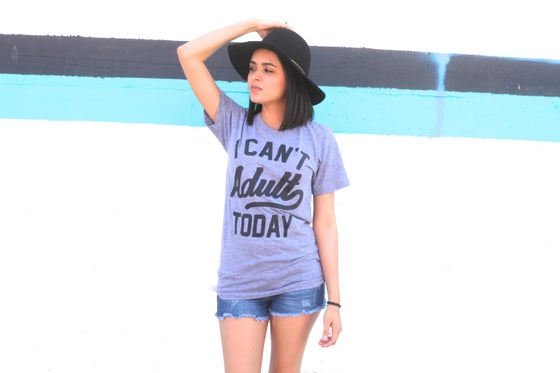 Image of I CAN'T ADULT TODAY GREY TEE