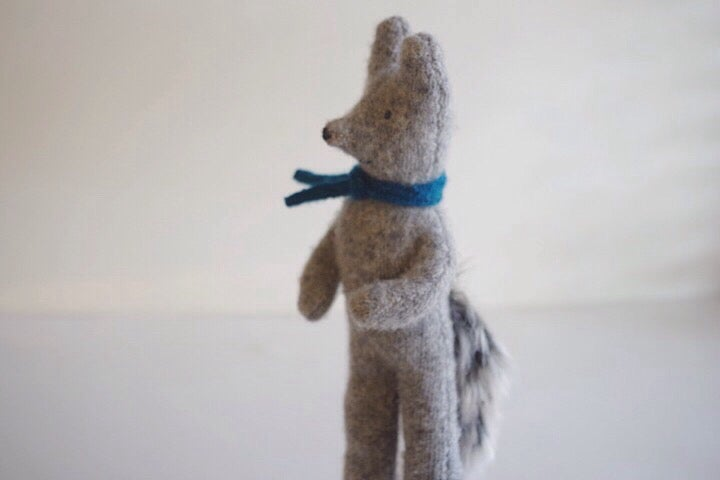 Image of Gray Wolf, soft wool toy