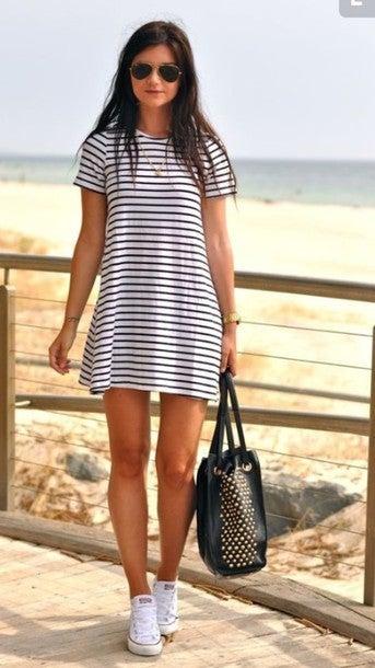 Image of CUTE GRAIN HOT STRIPE DRESS