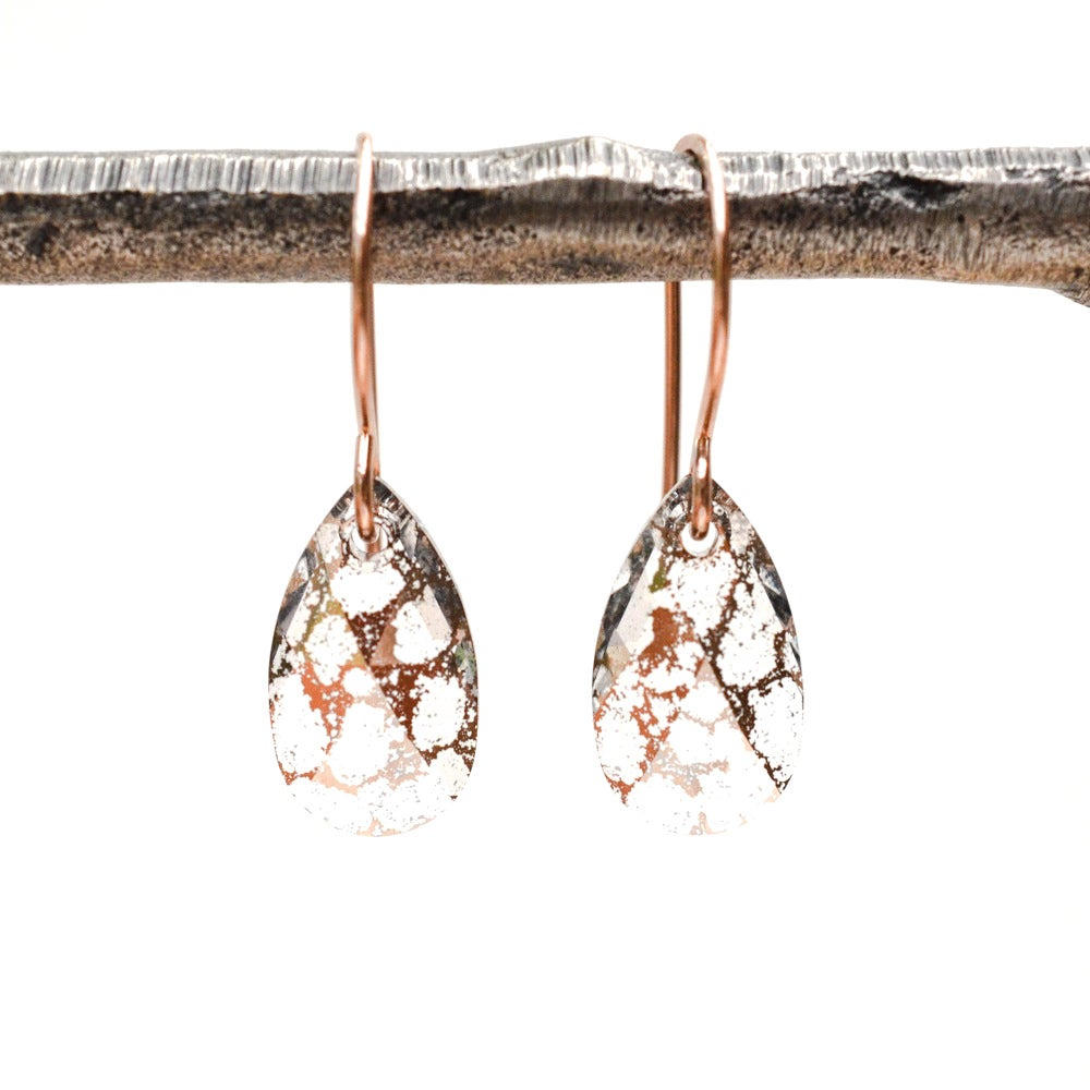 Image of Vintage style 14kt rose gold-filled pear drop earrings made with Swarovski® Crystal Elements