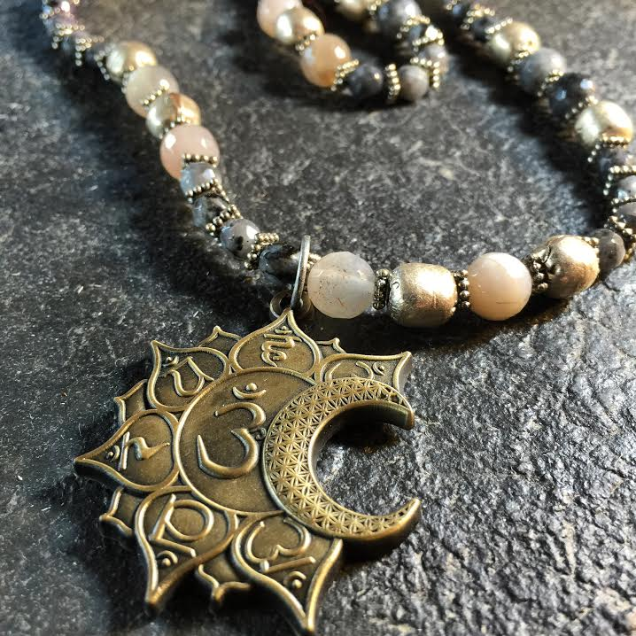 Image of Om Sacred Creation Symbol with Moonstone and Black Opal and Ugandan Silver Beads