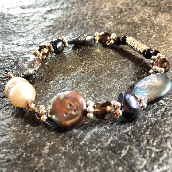 Image of Yemaya~Flow ~White Pearl/Black/Pearl and smoky Quartz with Artesian bead