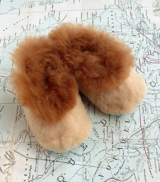 Image of Baby Alpaca Slipper Beig and Caramel