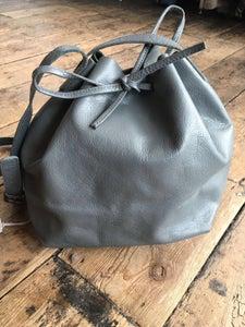 Image of Leather bucket bag grey