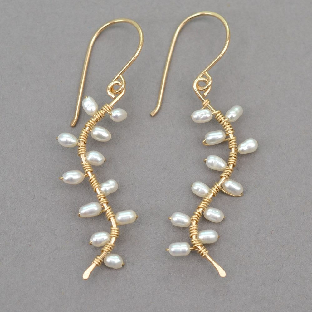 Image of Freshwater Cultured Pearl Vine Earrings 14kt gold-filled
