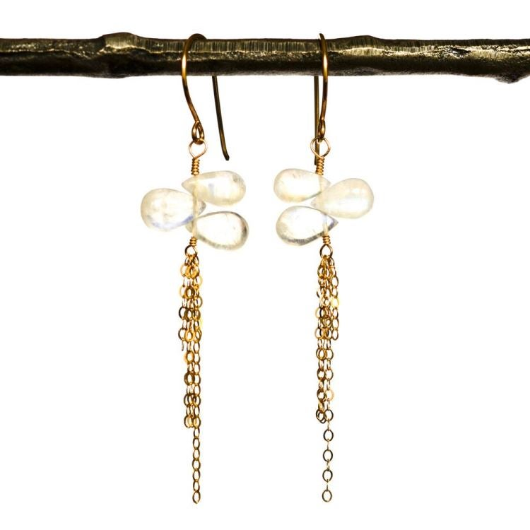 Image of Rainbow moonstone chain earrings